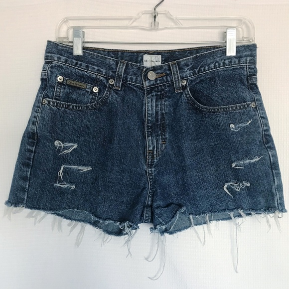 Calvin Klein Jeans Pants - CK High Waisted Mom Jean Shorts Distressed Cut Off